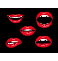 red woman lips vector image vector image