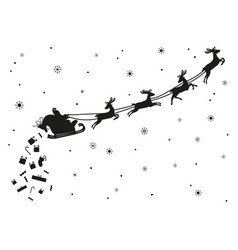 santa claus flying with deer silhouette vector image vector image