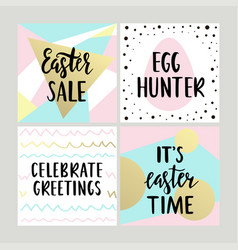 set with happy easter gift cards with calligraphy vector image vector image