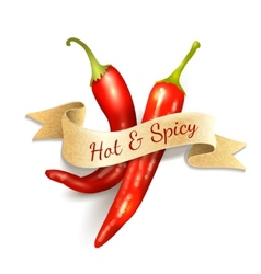 Chili pepper ribbon badge vector image vector image
