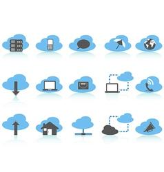 Simple cloud computing icons setblue series vector