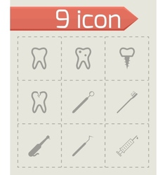 black dental icons set vector image vector image