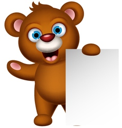 brown bear cartoon with blank sign vector image vector image