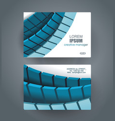 business cards with bblue tiles design template vector image