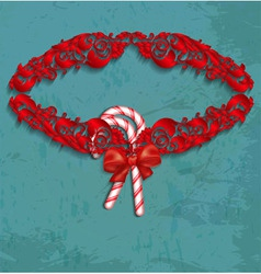 Christmas frame with candy and red bow vector image