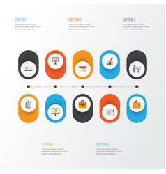 Job flat icons set collection of billfold vector
