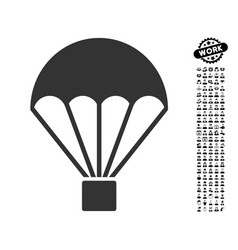 parachute icon with job bonus vector image vector image