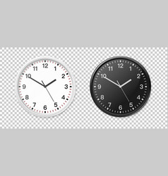 White and black wall office clock icon set design vector