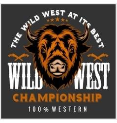 Wild west rodeo - bison head vintage vector