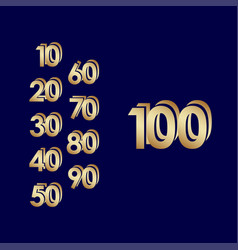 100 years anniversary celebration blue gold vector