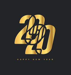 2020 happy new year gold logo celebration text vector image