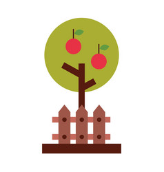 Apple tree with fence vector