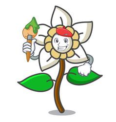 Artist jasmine flower character cartoon vector