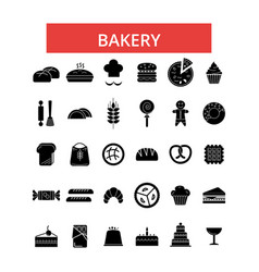 bakery thin line icons linear flat vector image