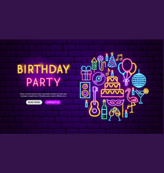 birthday party neon banner design vector image