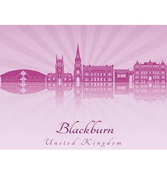 Blackburn skyline in purple radiant orchid vector image