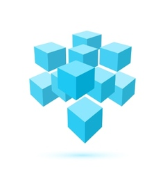 Blue cube icon Logo template vector