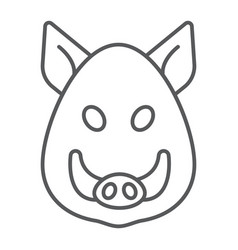 Boar thin line icon animal and zoo pet vector