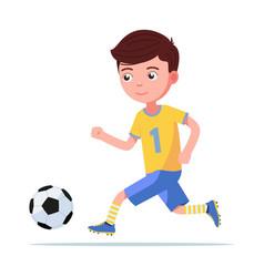 boy football player in sportswear runs for ball vector image