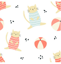 bright seamless pattern with funny summer cats vector image