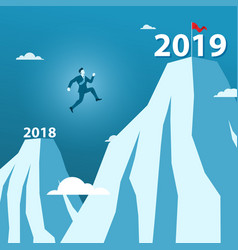 businessman jump between 2018 and 2019 years on vector image