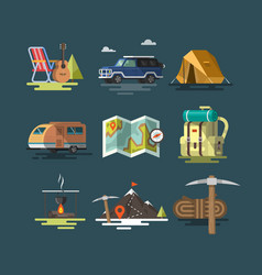 Camping set of camping equipment symbols vector