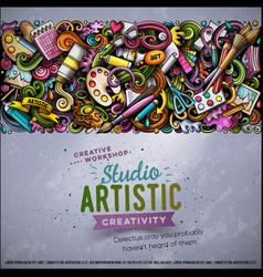 cartoon doodles art horizontal stripe card vector image