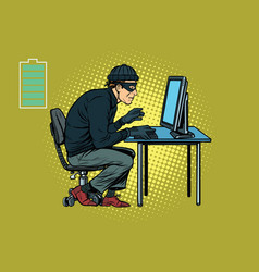 caucasian hacker thief hacking into a computer vector image