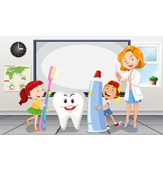 Children and dentist in the room vector