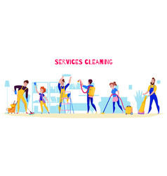 cleaning service horizontal composition vector image