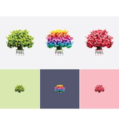 Colorful pixel style tree logo vector image