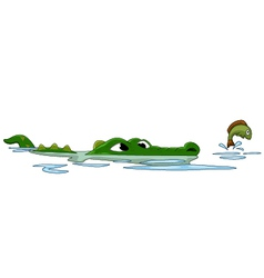 Crocodile hunting fish on the water vector