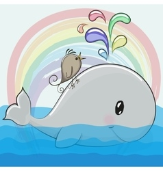 Cute cartoon whale and a bird vector