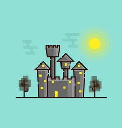 dark castle with moonlight flat design vector image