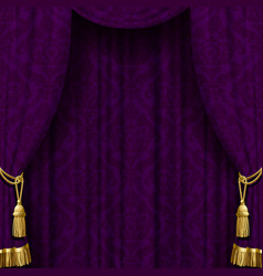 Dark violet curtain with gold tassels vector