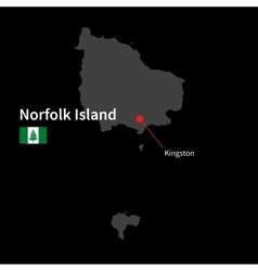 Detailed map of Norfolk Island and capital city vector image