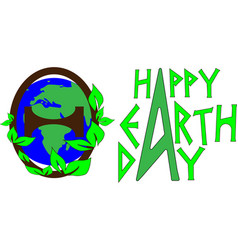 earth day concept planet earth inside the letter vector image