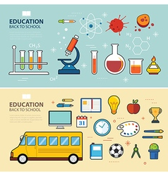 Education and back to school banner concept flat d vector