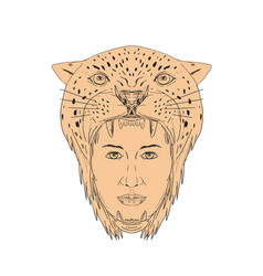 female aztec warrior jaguar headdress drawing vector image
