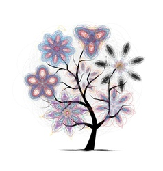 Floral art tree for your design vector image