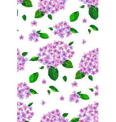 Garden pink hydrangea flowers seamless pattern vector