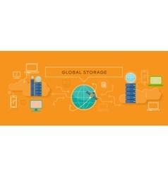 Global Storage Design Flat Concept vector image