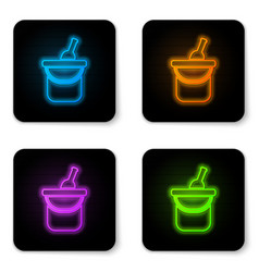 glowing neon bottle wine in an ice bucket icon vector image