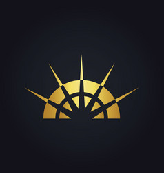 Gold abstract sun shine geometry logo vector