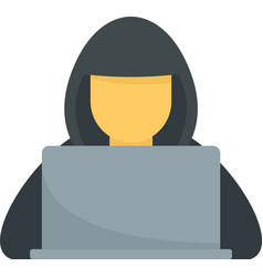 Hacker with hood icon flat isolated vector