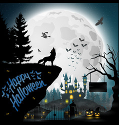 halloween night background with roaring wolves vector image