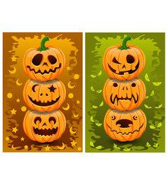 Halloween pumpkins and background set 1 vector