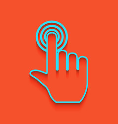 hand click on button whitish icon on vector image