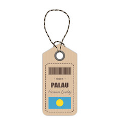 hang tag made in palau with flag icon isolated on vector image
