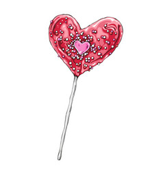 Heart shaped lollipop hand vector